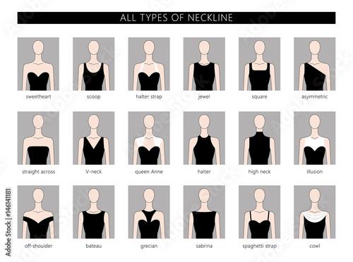 Fotografía  set of neckline types