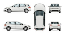 Car Vector Template On White Background. Hatchback Isolated. All Layers And Groups Well Organized For Easy Editing And Recolor. View From Side, Front, Back, Top.