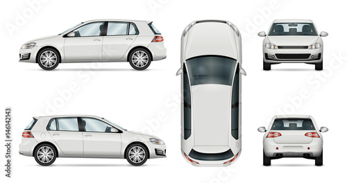 Fototapeta Car vector template on white background. Hatchback isolated. All layers and groups well organized for easy editing and recolor. View from side, front, back, top. obraz