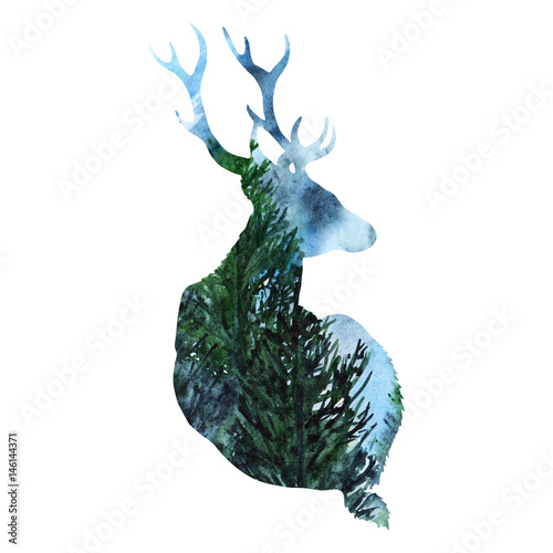 sylwetki-jeleni-zwierzecy-drewniany-lasowy-tlo-odizolowywajacy