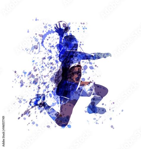 Fotografia Vector watercolor sketch of a handball player