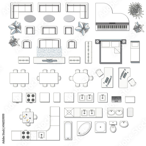 Set Top View For Interior Icon Design Elements For Living Room