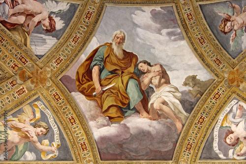 Foto  Das Opfer Isaaks; Fresko von Daniele Crespi in der Certosa di Garegnano; Mailand