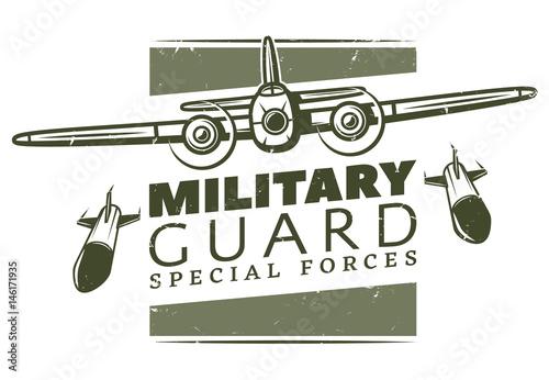 Obraz na plátne Vintage Military Logotype Template
