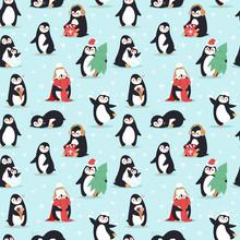 Christmas Penguins Seamless Pa...