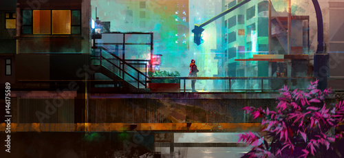 Painted urban future city with a man Wallpaper Mural