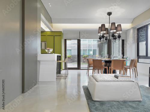 Kitchen Breakfast Bar And Dining Room In Modern Home