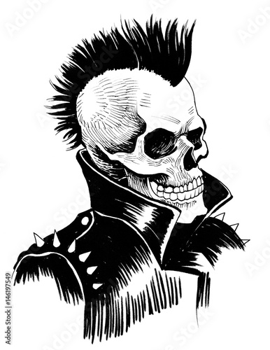Photo  Punk is dead. Ink drawing of a dead punk.