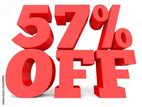 Fotografie, Obraz  Fifty seven percent off. Discount 57 %.