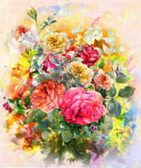 Fototapeta Róże Abstract colorful flowers rose watercolor painting. Spring multicolored in .nature