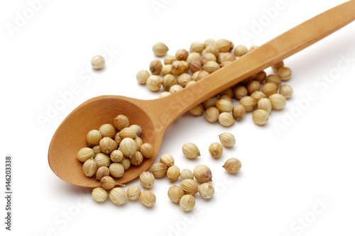 Coriander seeds with wooden spoon