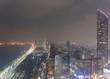 Abu Dhabi Downtown aerial view at night