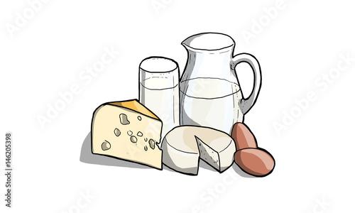 Poster Zuivelproducten Illustrazione di latte, latticini e formaggio in cucina
