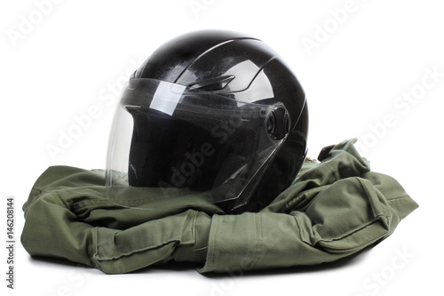 Photo  Black motorcycle helmet on a white background