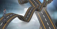 Digital Composite Image Of Businessman Standing On Wavy Highway