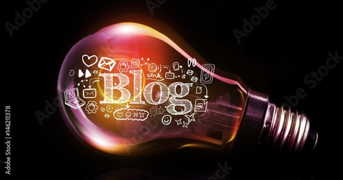 Digital composite image of blog text with icons in light bulb