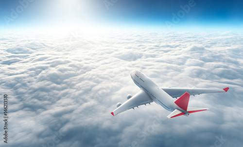 Türaufkleber Flugzeug Airplane flying above clouds