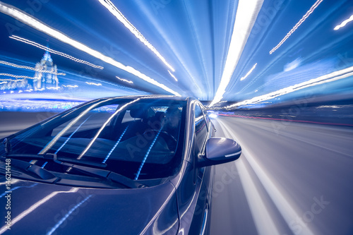 Photographie  blurred urban look of the car movement winter nights longexposure