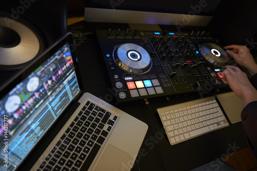 Cut in of DJ Decks and Laptop Computer Tablou Canvas