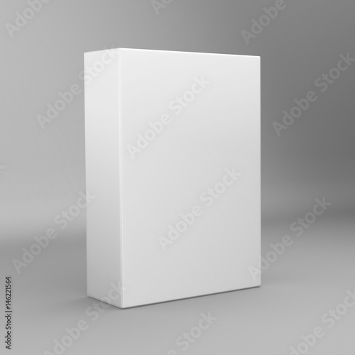 White tall rectangle blank box isolated on grey background.