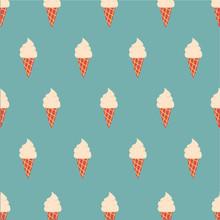 Seamless Pattern Cute Ice Cream