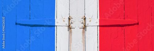 Porte Peinture Volet Bleu Charnière Ouverture été Couleur Vieux