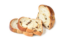 Raisin Bread Sliced On White Background - Isolated