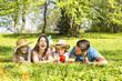 Familie auf der Wiese träumt und lacht