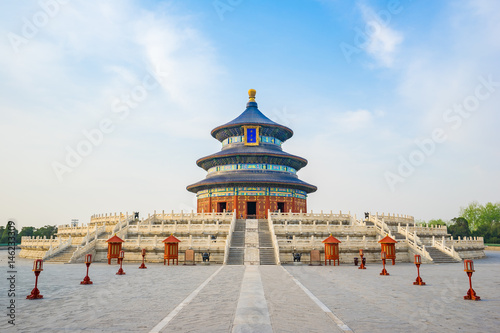 Photo Stands Beijing Temple of Heaven landmark of Beijing city, China