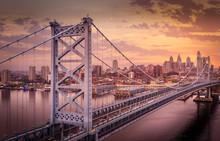 Aerial Benjamin Franklin Bridge Sunset