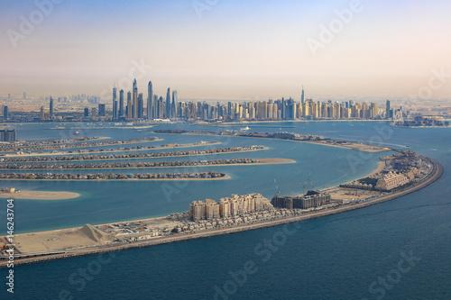 Fototapeta Dubaj palmowego jumeirah drzewka palmowego wyspy Marina Powietrzny widok z lotu ptaka