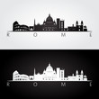 Rome skyline and landmarks silhouette.