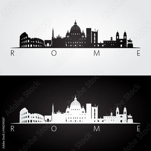 Photo  Rome skyline and landmarks silhouette.