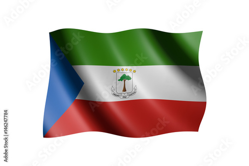 Fotografía  Flag of Equatorial Guinea isolated on white, 3d illustration