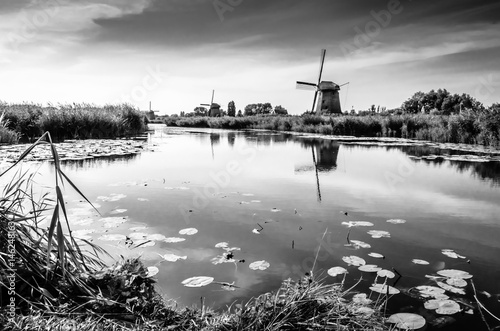 Aluminium Prints Mills Black and white Dutch landscape