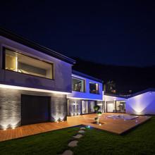Exterior Of Luxurious Modern Villa In The Night