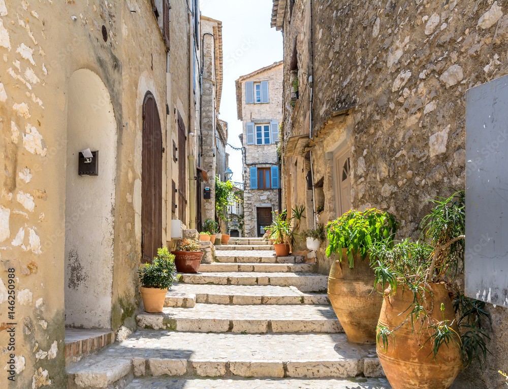 Fototapety, obrazy: typical narrow street in Saint Paul de Vence, France