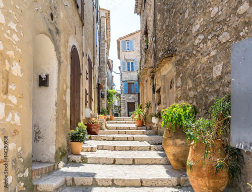 typical narrow street in Saint Paul de Vence, France