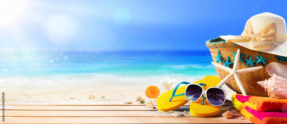 Fototapety, obrazy: Beach Accessories On Deck Beach - Summer Holidays
