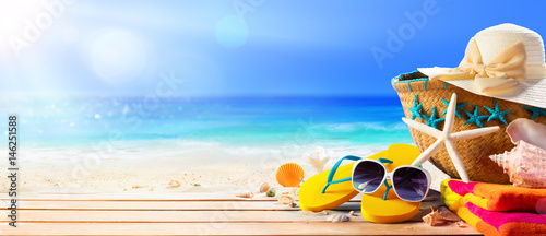 Beach Accessories On Deck Beach - Summer Holidays Canvas Print