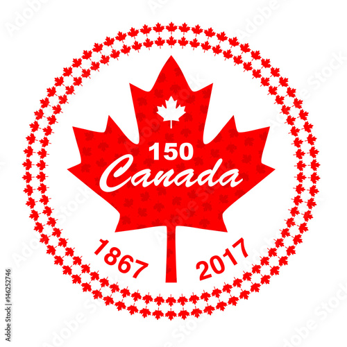 Canada 150 in circle maple leaf frame
