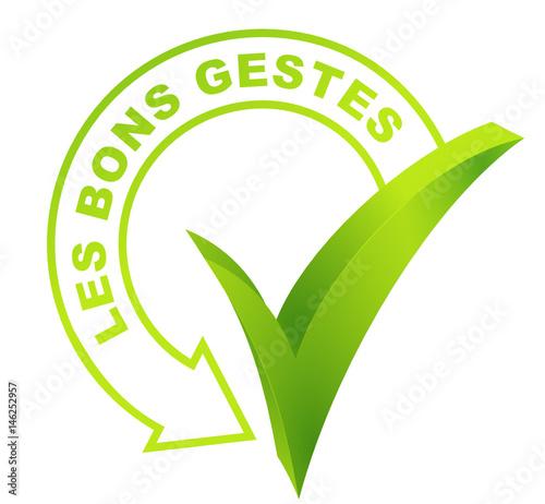 les bons gestes sur symbole validé vert Canvas Print