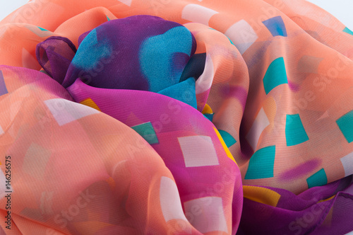 Fotografie, Obraz  Multicolored chiffon fabric with different squares lay in heap