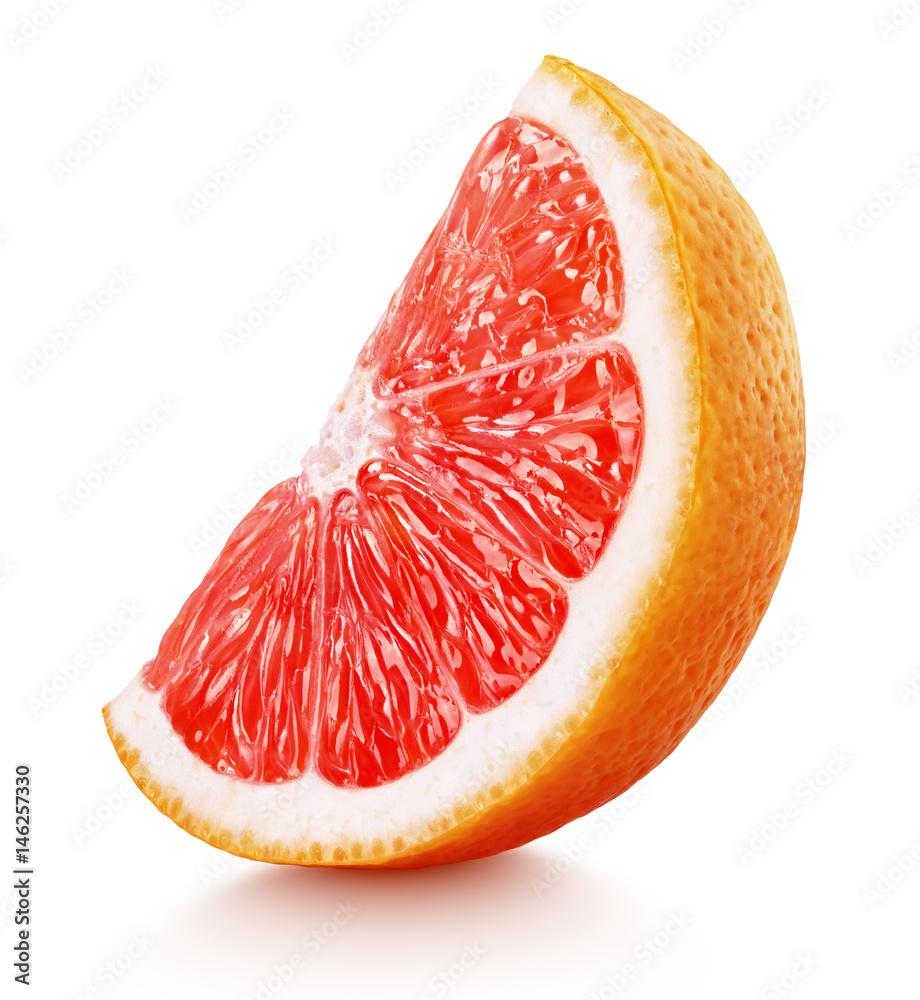 Fotografie, Obraz Standing ripe slice of pink grapefruit citrus fruit isolated on white background