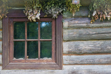 Aged Retro Window Of The Old Wooden House On The Private Farm