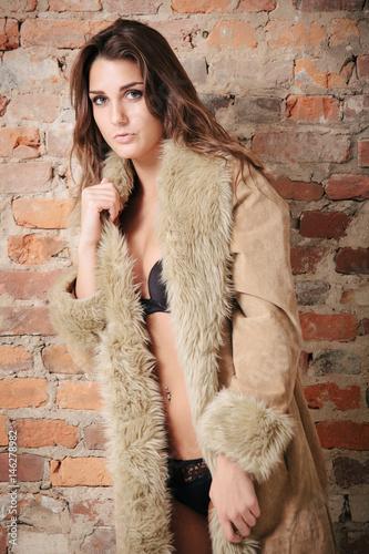 Photo  Sexy Girl in Panties and Fur Coat
