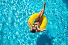 Happy Young Woman In Bikini Wi...