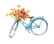 Watercolor Blue Bicycle With B...