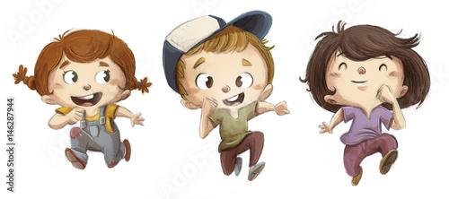 niños corriendo felices