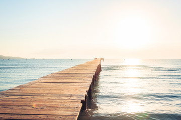 FototapetaLonely Pier On Mediterranean Beach